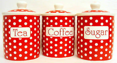 Red Dots Tea Coffee Sugar Canisters Bone China Storage Jars Set Hand Decorate UK