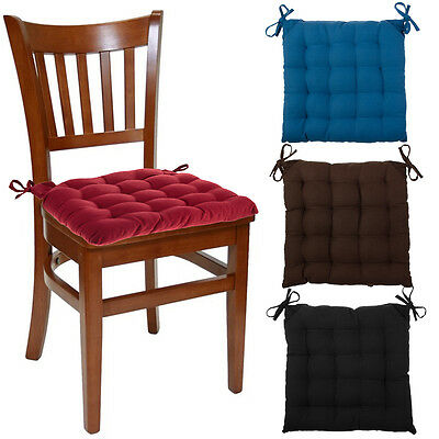 4pk Chair Pads Set Soft Tufted Cotton Canvas Padded Seat Cushions With Ties