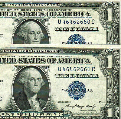 2 CONSECUTIVE 1935A $1 Silver Certificate ** ALMOST UNCIRCULATED **