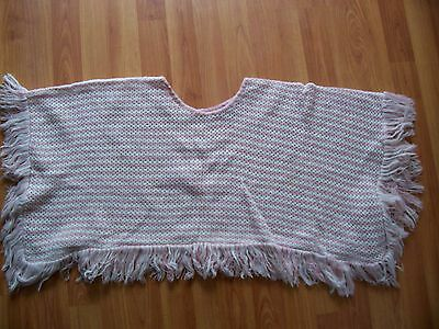 Pink /white knitted poncho square from Eisenegger, One size only