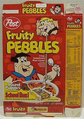 1987 Post Fruity Pebbles Cereal Box with Pound Puppies offer, Flintstones