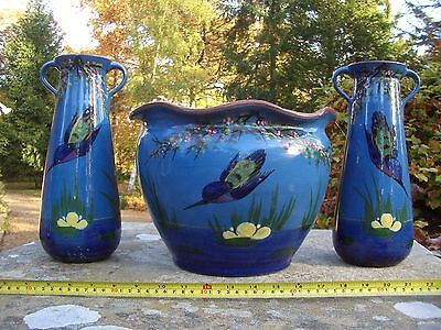 Torquay Longpark Pottery Hand Painted Kingfisher with Flowers Planter + 2 Vases