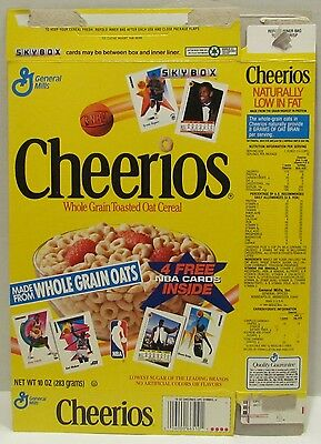 1991 General Mills Cheerios Cereal Box, with free NBA cards offer