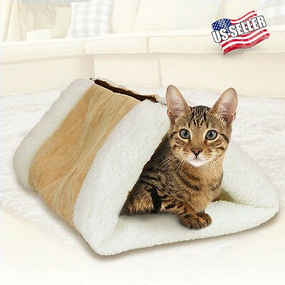 2-in-1 Cat Pet Bed Tunnel Fleece Tube Cushion Mat Pad For Dog Kennel House NEW