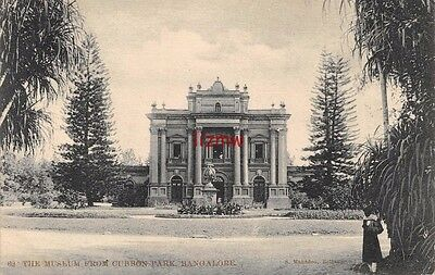 India Bangalore The Museum From Cubbon Park Native Man By Trees Printed Card