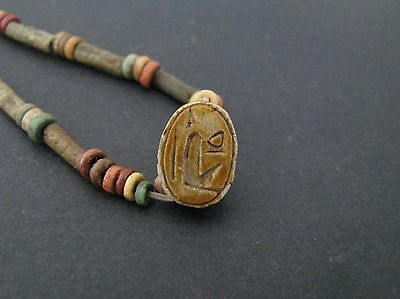 NILE  Ancient Egyptian Royal Cartouche Scarab Amulet Mummy Bead Necklace c1000BC