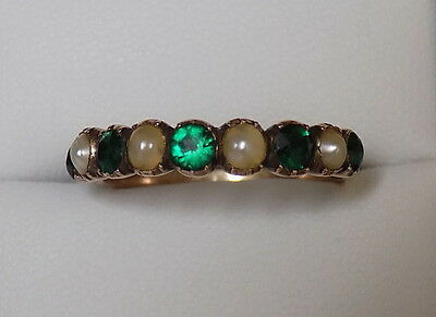 Georgian 15CT Gold Emerald paste and Pearl ring Size S 1/2 UK, 9.75 US