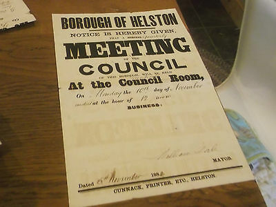 Original 1884 Poster For Helston Council Meeting Signed By Mayor William Dale