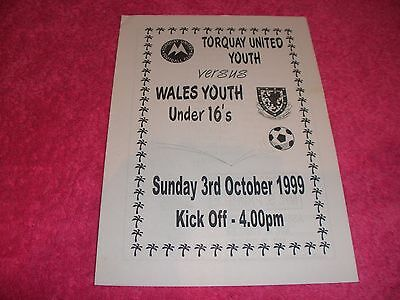 Torquay United Youth v Wales Youth Under 16s.   3/10/99.  @ Torquay United.