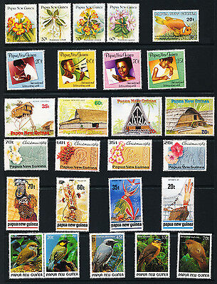PAPUA NEW GUINEA 1989 Flowers Birds MNH(26 Stamps)(Pap1)