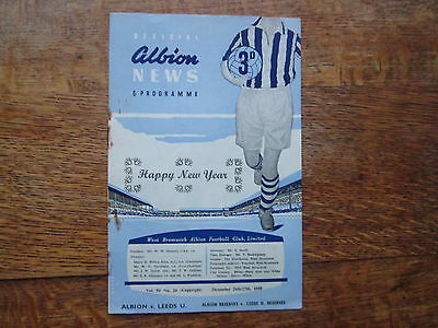 fWEST BROMWICH ALBION vLEEDS UNITED / LEEDS UNITED RESERVES 26/27TH DECEBER 1958
