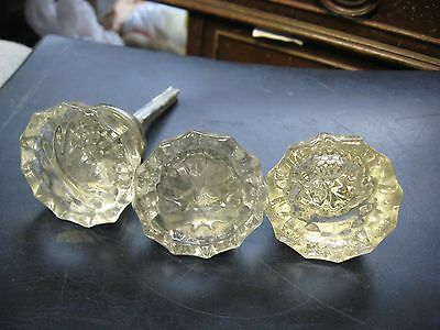 "3 Vintage 2"" Clear Glass Door Knobs"