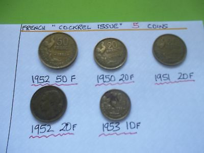 """5 French  Vintage """"rooster Issue"""" Coins  Mixed 50F+20F+10F 1950-1953 [#a122]"""