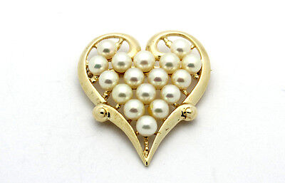 14k Yellow Gold YG Amazing Estate Multi Pearl Heart Pin Brooch 11.5g #4158