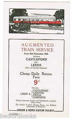 LNER Timetable 'Augmented Train Service between Castleford and Leeds' 1929