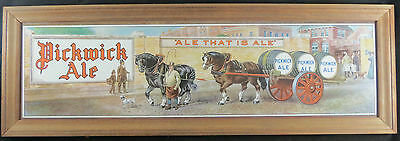 1940s Pickwick Ale Vintage Tin Lithograph Sign Beer Advertising Framed MINT