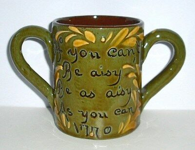 rare exeter art pottery loving cup / under amber glaze