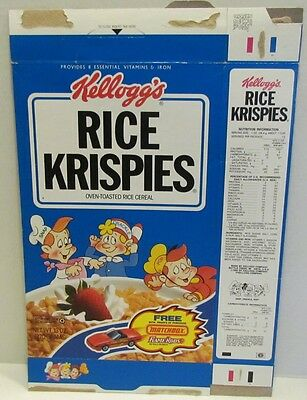 1992 Kellogg's Rice Krispies Cereal Box w/ Matchbox Flame Rods offer on back