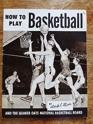 1950s Quaker Oats Cereal Board Ad How to Play Basketball Adolph Rupp Booklet