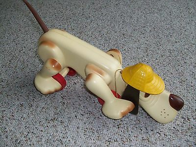 Vintage 1970s Romper Room Digger The Walking Dog Pull String Toy with Long Tail