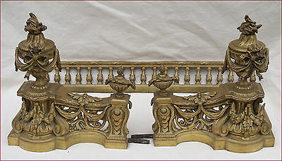 Antique French Fireplace Fender Urns Garlands 2nd Empire Gilt Brass 19th C