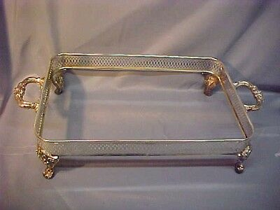 Vintage Silver Plated and Footed Casserole Holder with Orante Feet and Handles