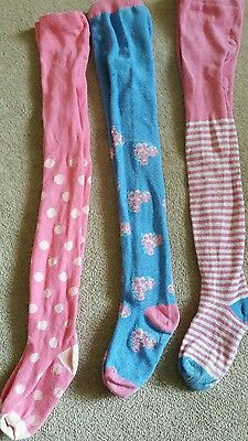 3 Pairs of Girls Tights Age 5-6 Years (flowers/spots/stripes)