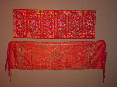 2 Great S. Antique Silk Embroided Cloths Chinese ****hg***