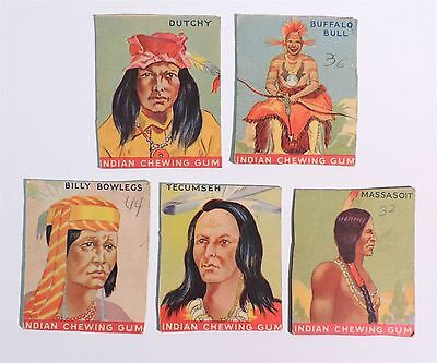 T177 VINTAGE Lot of 5 Goudey INDIAN CHEWING GUM Trading Cards c. 1933 [