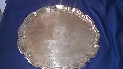 Vintage Large Silver Plated Tray With Engraved Decoration