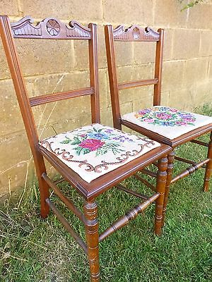 2 Antique Walnut Early Victorian Salon Chairs Wood Bedroom Hall Chair Carved