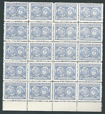 MNH BLOCK 20 x 2.90b BLUE AIR STAMPS 1947 BOLIVIA MEETING of PRESIDENTS