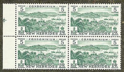 MNH BLOCK 4 x 5 GOLD CENTIMES GREEN STAMPS NEW HEBRIDES