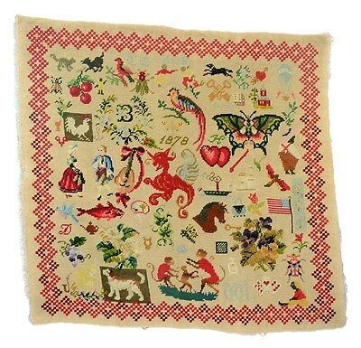 sampler needlepoint dated 1878 dog cat bird flag horse monkey 21x22 antique