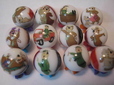 YOGI THE BEAR glass marbles collection lot 5/8 size + stands