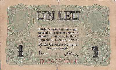 1 Leu From 1917 Romania  German Occupation!!pick-M3!!vg Banknote