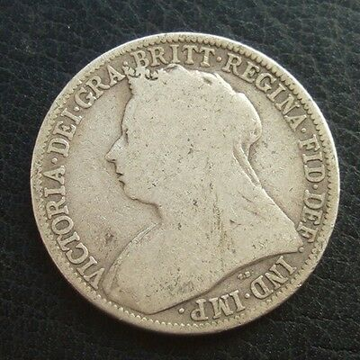 1894 VICTORIA VEILED HEAD FLORIN : BRITISH .9250 STERLING SILVER COIN ...b92