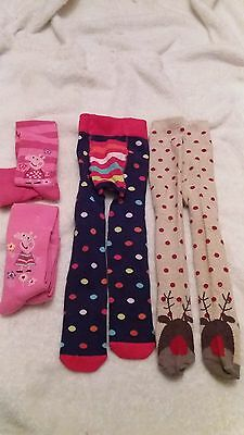 4 pairs of different design peppa pig spots reindeer winter tights 12-18m new
