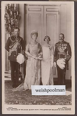 Lovely Antique Queen Mary / King George & The King & Queen Of Belguim Postcard