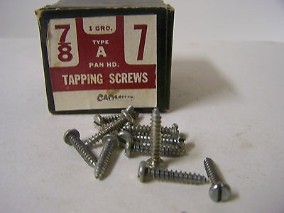 "#7 x 7/8"" Tapping Screw Pan Head Slotted Cadmium Plated Type A  - Qty 144"