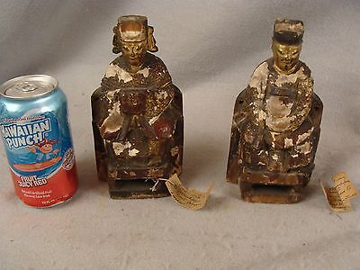 2 Antique Chinese carved lacquer gilt wood seated figures