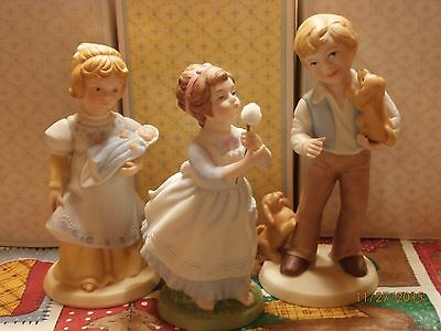 Avon Vintage Set of 3 Porcelain Figurines 1981 1982 Girls & Boy Handpainted