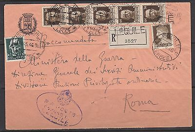 ITALY 1940 Registered Cover LEQUILE to Roma Rome
