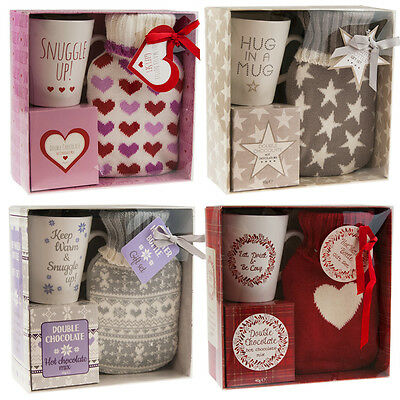 Hot Water Bottle Gift Set with Mug & Hot Chocolate Winter Warmer Xmas Gift