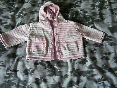 Girls Mothercare Hooded Pink Striped Cardigan, 0-3 Month