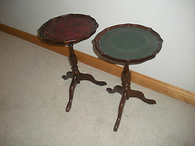 The Bombay Company Wood Gold Stamped Leather Top End Side Accent Tables Pair