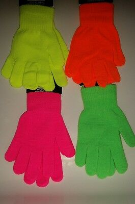 New Women's Ladies Adults Plain Stretchy Magic Gloves In Neon Colours.