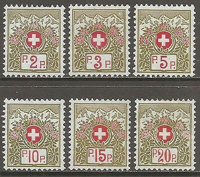 1911-26 Switzerland Frank Stamps without Control Figures Set of 6 MH/* (Cat £42)
