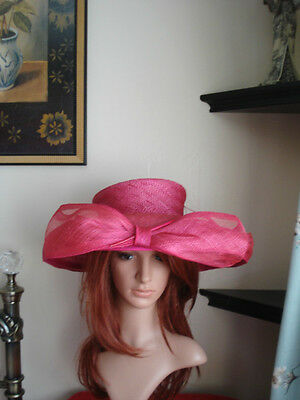 Ladies Wedding / Formal Hat, Pink, Balfour, Bow to the front