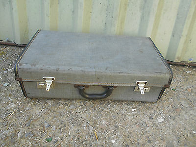 OLD Vintage Blue Shabby Chic Suitcase Travel Case Table Display TRUNK by BOOTS